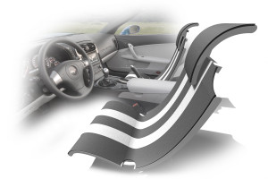 ComfortSpan-UX automotive commercial upholstery fabric in gray-scale format set in car interior.
