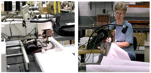 Custom textile design of fabrics in factory setting.